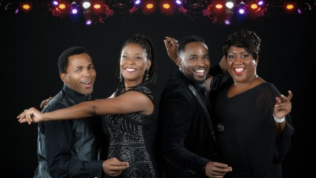 The cast of 'Shake Loose': Anthony Manough, Lori Williams, Rayshun Lamarr, and Roz White. Photo by Chris Banks.