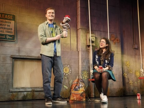 Steven Boyer (Jason) and Sarah Stiles (Jessica) in 'Hand to God.' Photo by Joan Marcus.