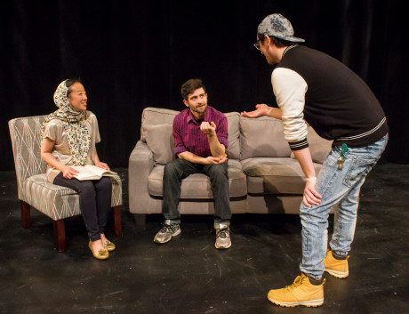 Daniel Johnston (playwright and director) with Iris Shih and Thomas Matera. Photo by St. Johnn Blondell.