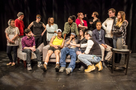 Daniel Johnston (playwright and director) with the entire cast. Top Row, Left to Right: Iris Shih, Christian Preziosi, Alex Becker, Sierra Young, Chaseedaw Giles, Courtney Branch, Jordan Colea, Colin Riley, Taylor Purnell Bottom Row, Left to Right: Thomas Matera, Warren Harris, Wesley LeRoux, Gabrielle Amaro, Daniel Johnston, Brandon Furr. Photo by St. Johnn Blondell.