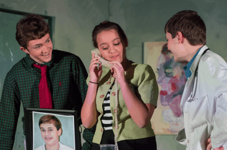 Matthew Cheney (Wally Allen), Isabelle Anderson (Betty), and Andrew Herrup (Dr. Roy). Photo by Melanie Beus.