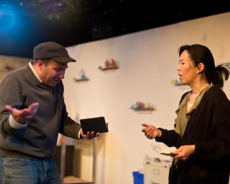 Rob Gorman (Andy) and Momo Nakamura (Ilana). Photo by Harvey Levine.