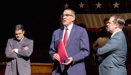 Nick Wyman, center, as President Lyndon Johnson, with Joe Knispel (Left) (Robert McNamara), and Karl Hamilton (Senator Hubert H. Humphrey) in 'All the Way.' Photo by Cliff Roles.