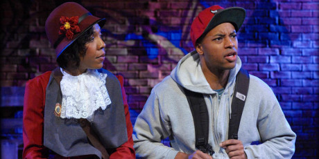 (L to R) Erica Chamblee (Ida B. Wells) and Manu H. Kumasi (Noel) in 'The Gospel of Lovingkindness' at Mosaic Theater. Photo by Stan Barouh.
