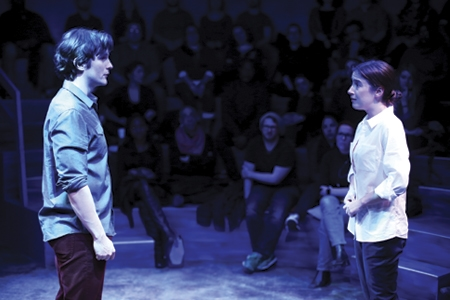 Tom Patterson and Lily Balatincz in Constellations at Studio Theatre. Photo by Igor Dmitry.