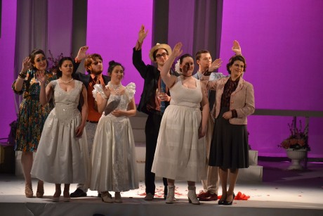The cast waving farewell to Lydia and Nicos. Photo by Emily Pound.