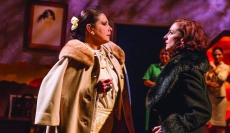 L to R: Ana Verónica Muñoz and Luz Nicolás. Photo by Rose Campiglia. (l-r) Ana Verónica Muñoz as Helena Rubenstein and Luz Nicolás as Elizabeth Arden in Senorita y Madame at GALA Hispanic Theatre (Photo: Rose Campiglia)