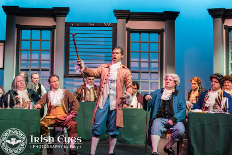 """Edward Rutledge of South Carolina (James Myers) sings about the North's complicity in the slave trade (""""Molasses to Rum"""") even as they denounce it. Photo by Irish Eyes Photography by Toby."""