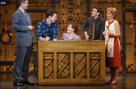 (l to r) Curt Bouril (Don Kirshner), Liam Tobin (Gerry Goffin), Abby Mueller (Carole King), Ben Fankhauser (Barry Mann), and Becky Gulsvig (Cynthia Weil). Photo by Joan Marcus.