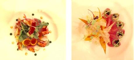 (L-R) Maine Lobster Salad ~ Hamachi Salad.