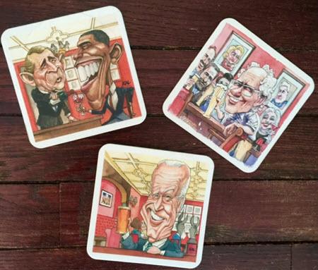 A few of political cartoonist Matt Wuerker's commissioned coasters.