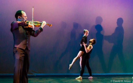 Violinist Leonid Sushansky, Alicia Curtis and Dustin D Kimball. Photo by David Moss.