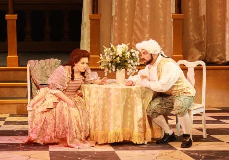 """La Serva Padrona': Serpina (Crossley Hawn) and Uberto (Eric Gramatges. Photo by Dan Weaver."