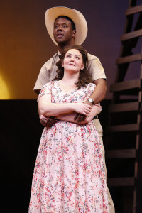 Tracy Lynn Olivera (Lizzie Curry) and Ben Crawford (Starbuck). Photo by Carol Rosegg.