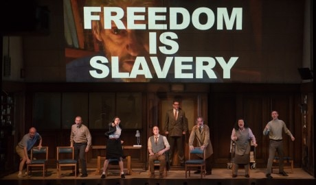 The cast of '1984.' Photo by Ben Gibb, courtesy of Headlong Theatre.