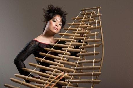 Vân-Ánh Võ plays traditional Vietnamese instruments.