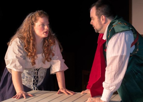 Laura J. Martin (Lilli Vanessi/Katherine) and Andrew Baughman (Fred Graham/Petruchio). Photo courtesy of Washington County Playhouse DInner Theater and Children's Theater.