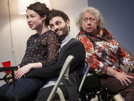 Sarah Steele (Brigid), Arian Moayed (Richard), and Jayne Houdyshell (Deirdre). Photo by Joan Marcus.