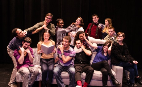Playwright and Director Daniel Johnston with the entire cast: Top Row, Left to Right: Iris Shih, Christian Preziosi, Alex Becker, Sierra Young, Chaseedaw Giles, Courtney Branch, Jordan Colea, Colin Riley, and Taylor Purnell. Bottom Row, Left to Right: Thomas Matera, Warren Harris, Wesley LeRoux, Gabrielle Amaro, Daniel Johnston, and Brandon Furr. Photo by St. Johnn Blondell.
