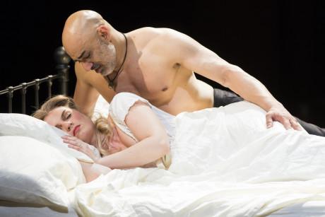 Ryman Sneed (Desdemona) and Faran Tahir (Othello). Photo by Scott Suchman.