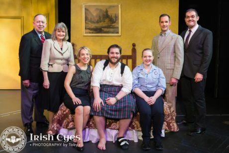 The cast of 'Unnecessary Farce': L to R: Bob Sams, Marilyn Pifer, Brianna Goode, Brendan Chaney, Lynley Peoples, Scott Landsman, and Stephen T. Wheeler. Photo by Irish Eyes Photography by Toby.