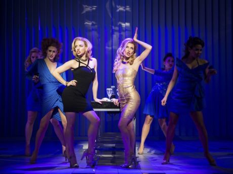 Helene Yorke as Evelyn Williams, Morgan Weed as Courtney Lawrence and the cast of American Psycho. Photo by Jeremy Daniel.