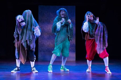 The Reduced Shakespeare Company (l to r: Austin Tichenor, Teddy Spencer, Reed Martin) on stage as the Weird Sisters. Photo by Teresa Wood.
