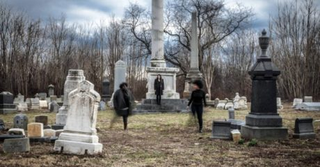 Beowulf Grendel with its three actors at Mount Moriah cemetery. Photo by Daniel Kontz.
