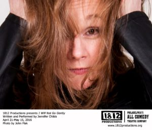 Jennifer Childs in a pre-production photo for 1812 Productions' 'I Will Not Go Gently.' Photo by John Flak.