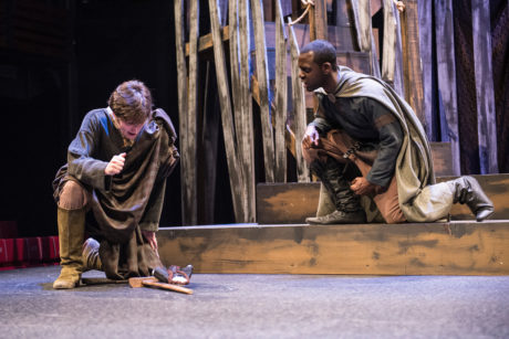 Let grief convert into anger, Malcolm urges, as Macduff learns his wife and children have been murdered. Actor Gerrad Alex Taylor is Malcolm, the son of slain King Duncan; and Vince Eisenson is Macduff. Photo by Teresa Castracane.