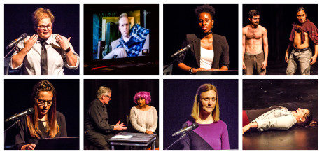 """(Top Row: Left to Right) Ryna May's memoir """"The Phantom Balls"""", Noah Bird responds via Skype; Nsikan Akpan's story """"The Blind Truth"""", WIG actors Thomas Matera and Diego Esmolo responds.(Bottom row: Left to Right): Torie Costa's story """"Piggy Blaze and the Drug Pig"""", Douglas Goodin and Sierra Young responds; Ingrid Nuttle's memoir """"How I Got Banned from Evan and Evan's Apartment"""", WIG actor Autumn Kramer responds. Photo by St. Johnn Blondell."""