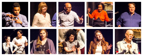 """Jeremiah Anderson performs his spoken word poem """"Retrospective"""", Tara Hart responds (along with 7 other writers and actors); Steve Mandes III's poem """"Forgotten Poem"""", WIG actor, Apryl Motley responds; Shawn Fournier's story """"I Hate Being a Twin"""". (Bottom row: Left to Right) WIG actors Autumn Kramer and Diego Esmolo responds; Darcy Rollow's poem """"Flipside"""", WIG co-director and actor Daniel Johnston responds; Sophia Hirrel's poem """"SLAM"""", WIG actor, and Douglas Beatty responds. Photo by St. Johnn Blondell."""