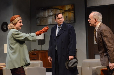 Nisi Sturgis (Margot Wendice), Cameron McNary (Max Halliday ), and Alan Wade (Inspector Hubbard). Photo by Stan Barouh.