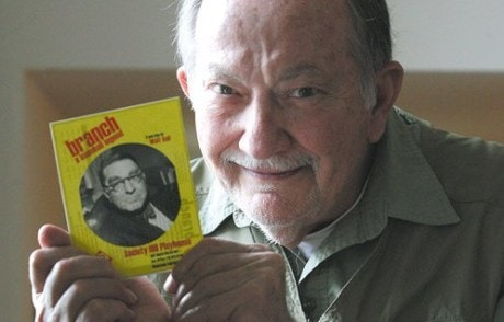 Walt Vail holding a Playbill of his recent work 'Branch.' Photo by Tim Hawk.