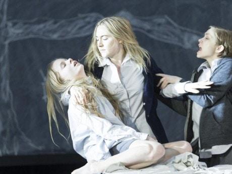 Elizabeth Teeter (Betty Parriss), Saoirse Ronan (Abigail Williams), and Tavi Gevinson (Mary Warren). Photo by Jan Versweyveld.