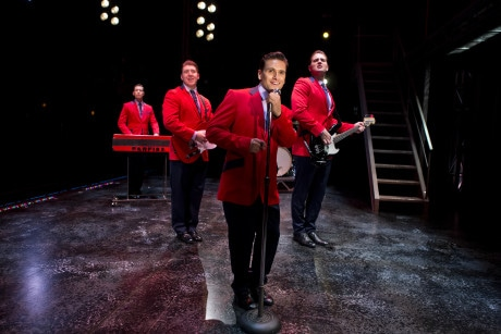 Singing 'Sherry': (L to R: Drew Seeley, Matthew Dailey, Aaron De Jesus, and Keith Hines. Photo by Jeremy Daniel.