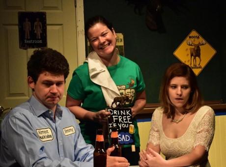 L to R: Jack Read (Jimmy), Julie Janson (the waitress), and Elizabeth Floyd (Sandrine). Photo by Chip Gertzog.