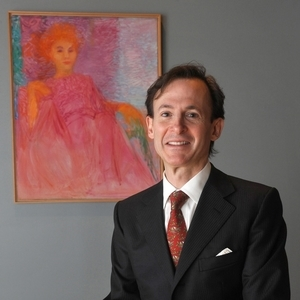Pianist and author Bruce Levingston in front of Marie Hull's Pink Lady. Photo by Rick Guy.