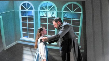 Mary Lennox (Bailey Ryon) and Archibald Craven (Jeffrey Coon) Photo by Mark Garvin.