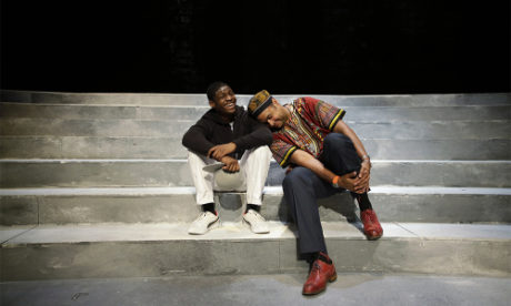 Director Rajendra Ramoon Maharaj, right, leans on actor Amir Randall, who plays Trayvon Martin after a rehearsal for 'The Ballad of Trayvon Martin' at the New Freedom Theatre in Philadelphia. AP Photo/by Matt Slocum.