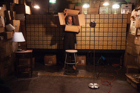 Geoff Sobelle in 'The Object Lesson' at Studio Theatre. Photo by Allie Dearie.