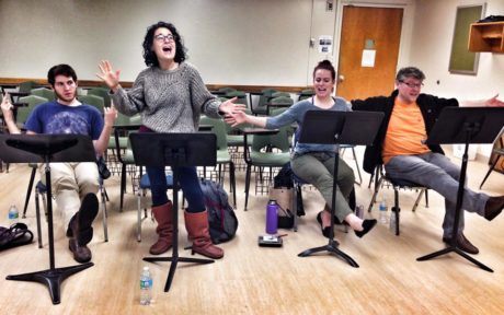 The cast during the reading. Photo courtesy of Monumental Theatre Company.