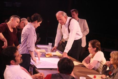 Samantha Sheahan, as Juror #8, leads the cast into questioning their initial verdict. Photo by Charles Divine.