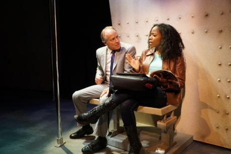 """Greg Wood and Danielle Leneé in """"White Guy on the Bus."""" Photo by Michael Goldstein."""