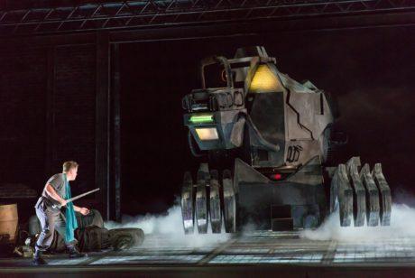 Siegfried (Daniel-Brenna) faces off against Fafner. Photo by Scott Suchman.