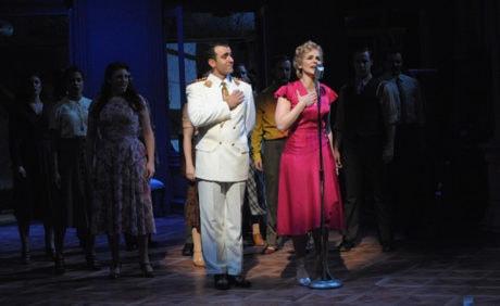 Nick Duckart (juan Perón), Rachel Zampelli (Eva) and the cast. Photo by Stan Barouh.