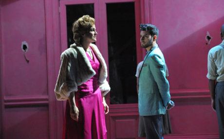 Rachel Zampelli (Eva) and Robert Ariza (Che) Photo by Stan Barouh.