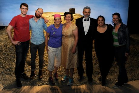 The 'Happy Days' Creative Team: L-R, Alexander Burns, Solomon Weisbard, H Mara Burns, E Ashley Izard, Gregory Isaac, Janel Villatoro, Shannon Kearns (1)