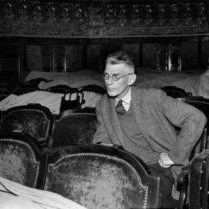 Samuel Beckett in a Paris theatre in 1961.