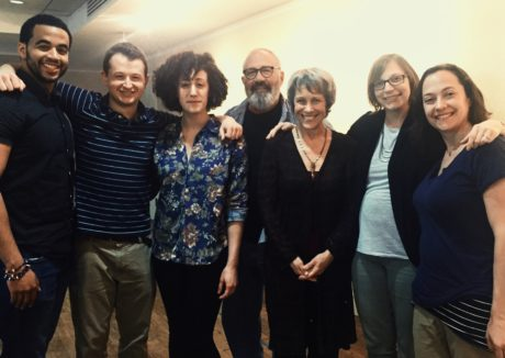 The cast, writer, and director of Another Way Home at Theater J (from left): Thony Mena (Mike T., Joey's camp counselor), Chris Stinson (Joey, Lillian and Philip's son), Shayna Blass (Nora, Lillian and Philip's daughter), Rick Foucheux (Philip), Naomi Jacobson (Lillian), Anna Zeigler (playwright), and Shirley Serotsky (director). Photo: Courtesy of Theater J.
